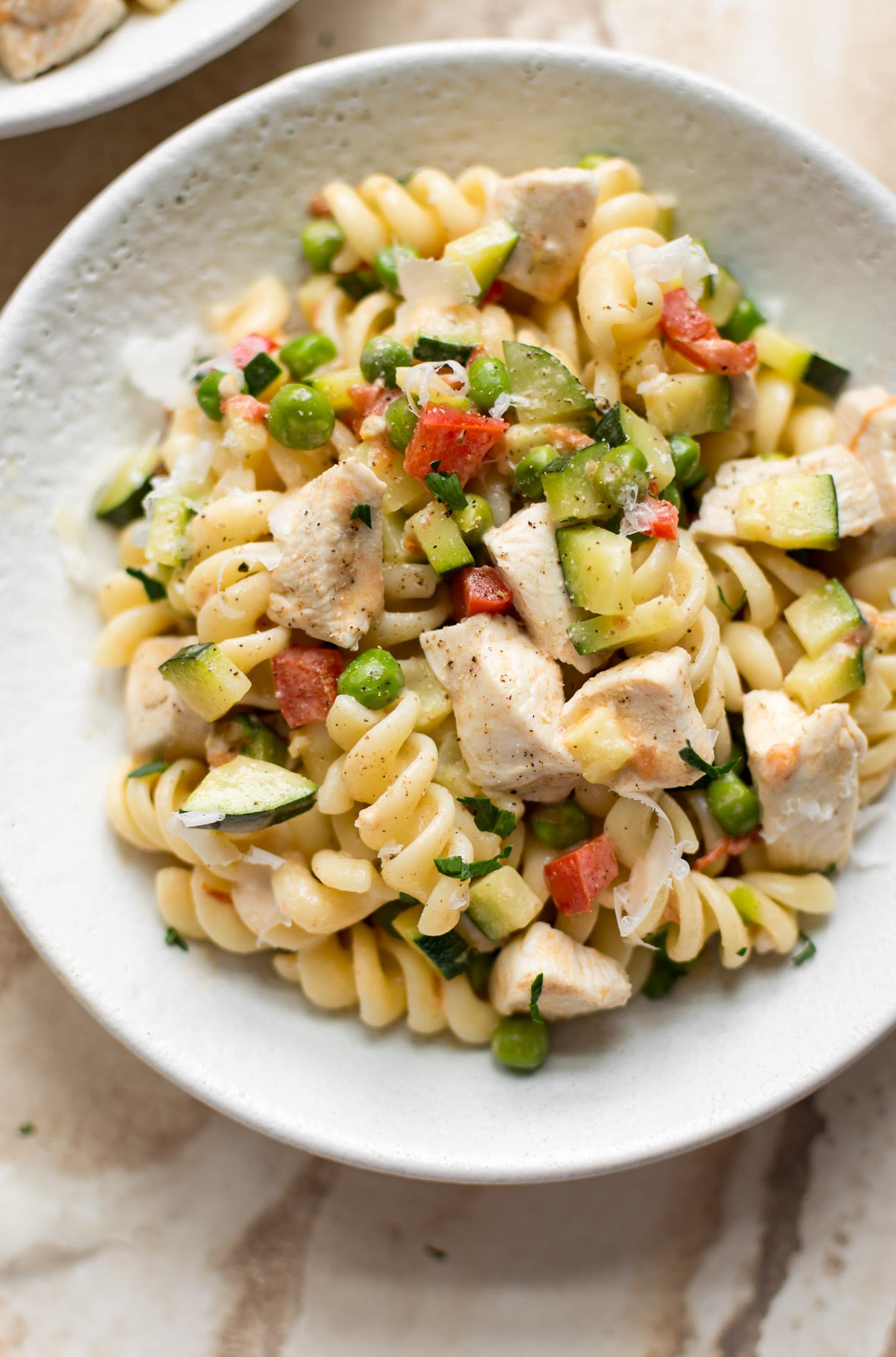 This creamy Pasta Primavera recipe with chicken is fresh, simple, and delicious.