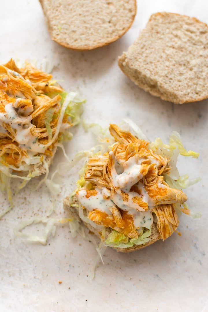 These Instant Pot buffalo chicken sandwiches are easy to make and perfectly spicy!
