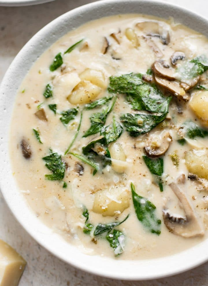 This creamy gnocchi soup with spinach, mushrooms, garlic, and a creamy broth is irresistible! Vegetarian comfort food at its finest.