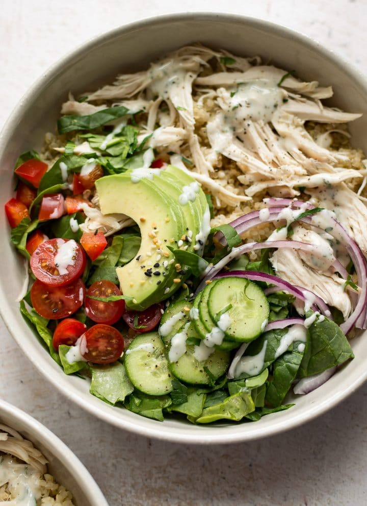 This cold chicken quinoa salad recipes comes together fast and easily. You can either use homemade ranch dressing or store bought.