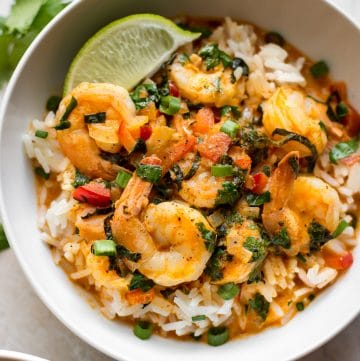 This Thai coconut shrimp curry recipe is healthy and delicious. Perfect over rice. An easy recipe for busy families!