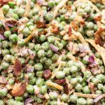 Close-up of creamy bacon pea salad