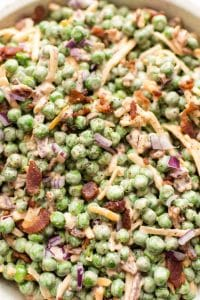 Close-up of creamy bacon pea salad