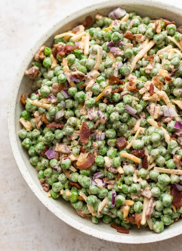 Bacon pea salad in a bowl