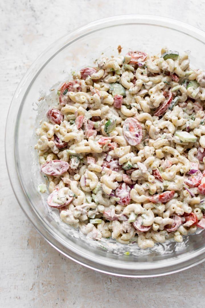 creamy tuna pasta salad in a prep bowl