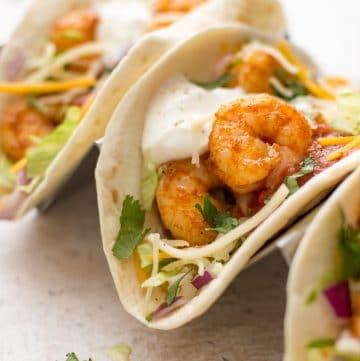 shrimp tacos side view