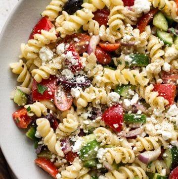 close-up of Greek pasta salad