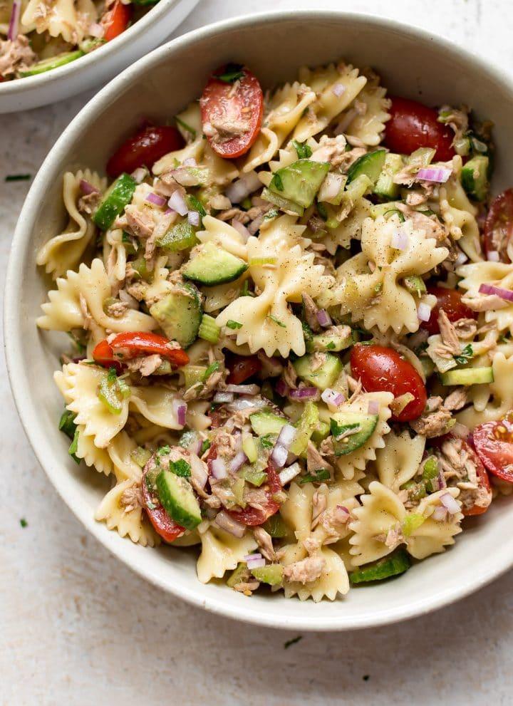 Tuna pasta salad close-up