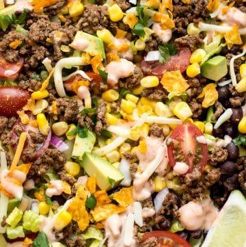 close-up of beef taco salad