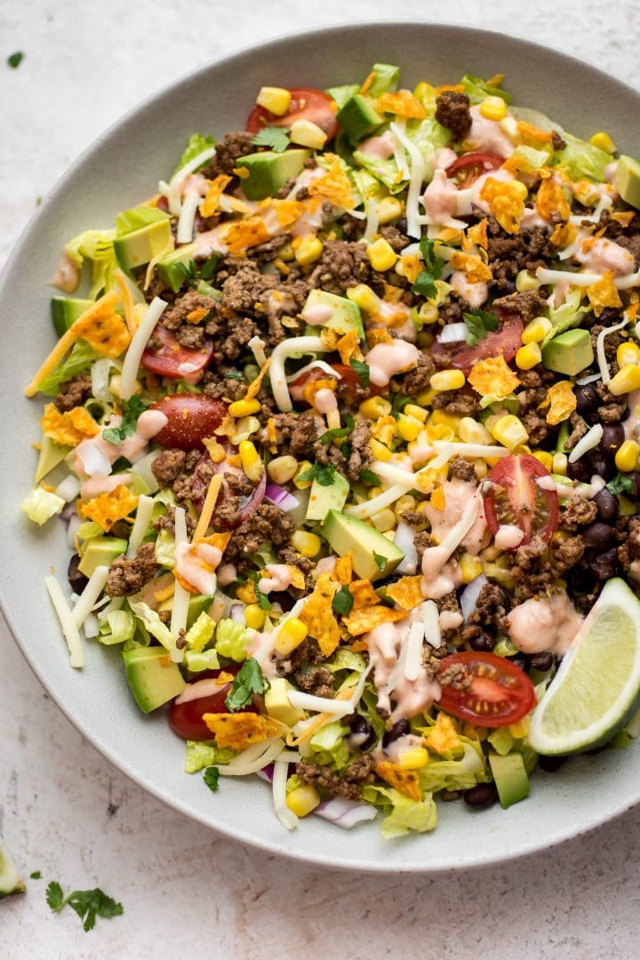 easy beef taco salad in a large salad bowl