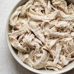 Bowl of shredded chicken breast