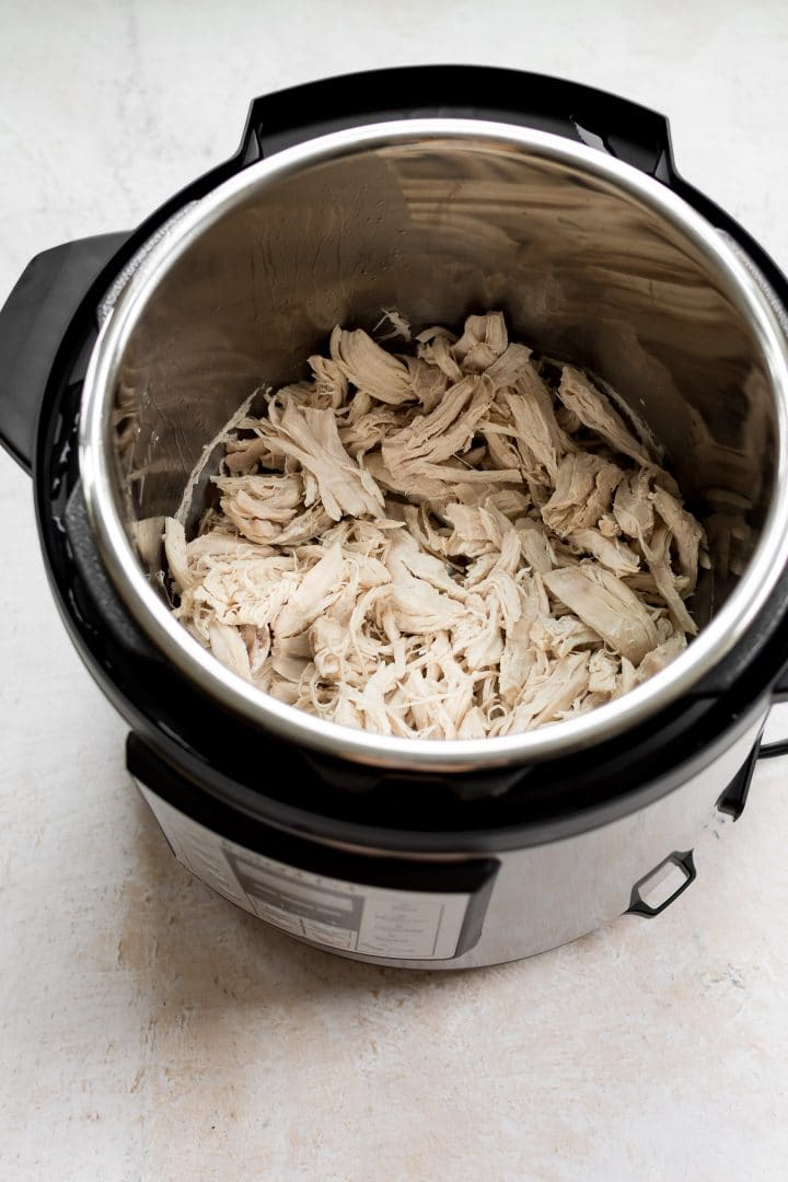 Shredded chicken breast in an Instant Pot