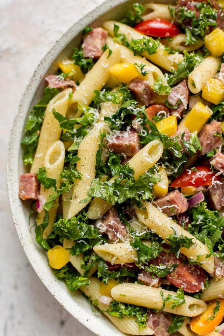 close-up of healthy kale pasta salad