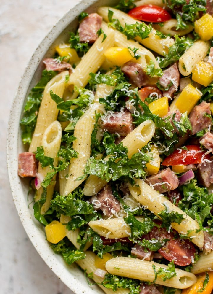 close-up of healthy kale pasta salad