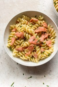 smoked salmon pasta close-up shot