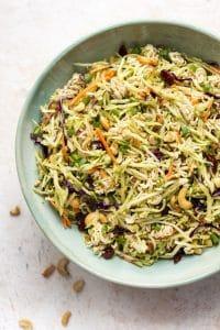 Broccoli ramen noodle salad close-up