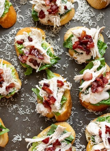 a dozen chicken Caesar crostini appetizers