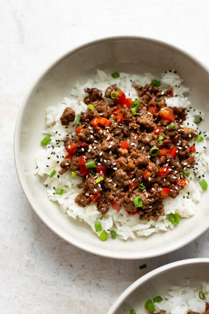 Asian beef and rice bowls