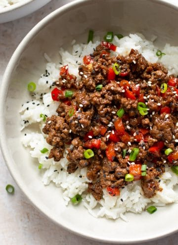 closeup of ground beef bowls