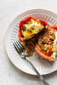 Mexican stuffed pepper on a white plate
