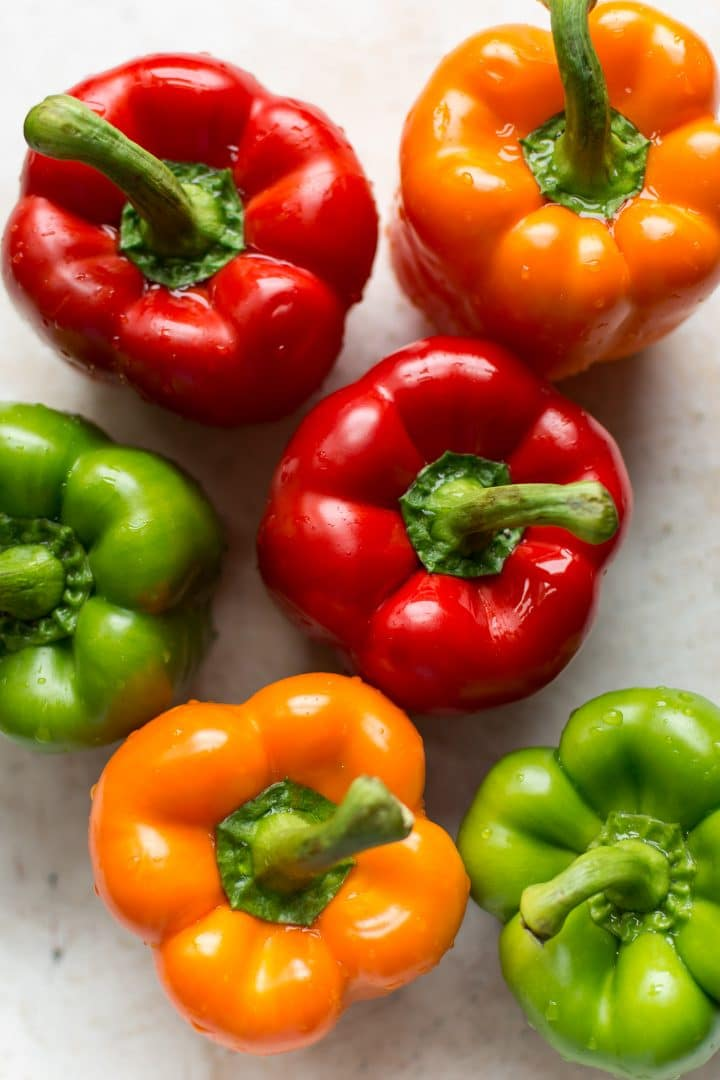 Colorful raw bell peppers