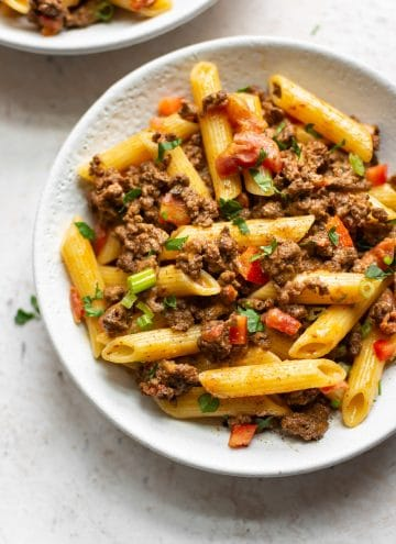 cheesy taco pasta in two bowls