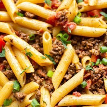 close-up of cheesy taco pasta