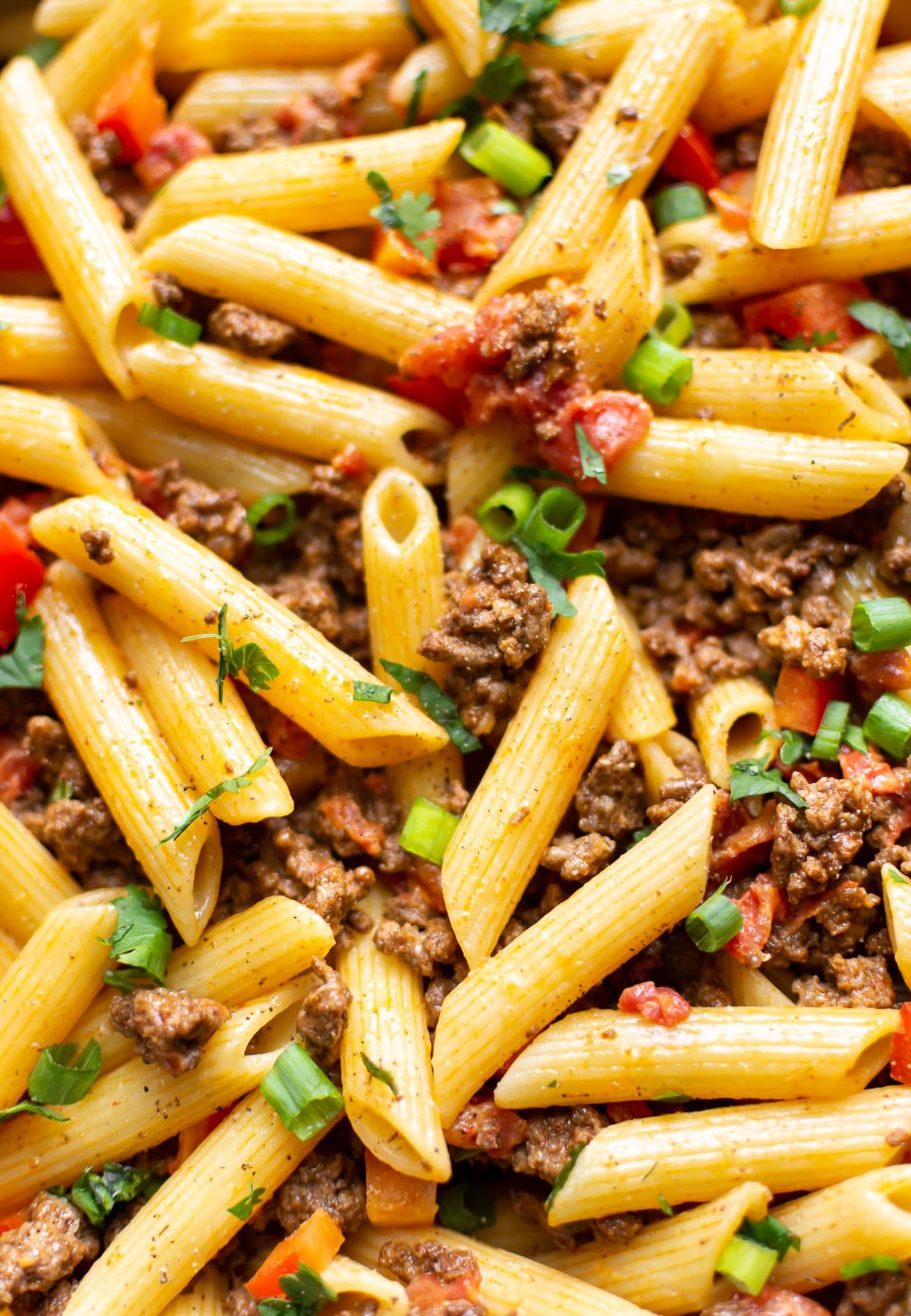 close-up of cheesy taco pasta