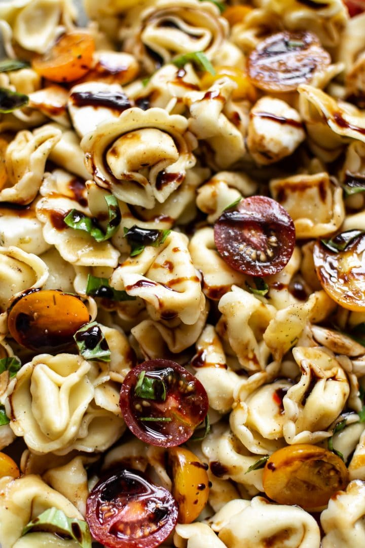 close-up picture of cold tortellini salad
