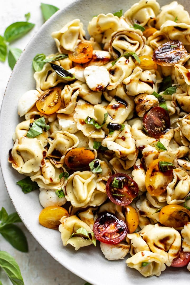 Caprese tortellini salad close-up