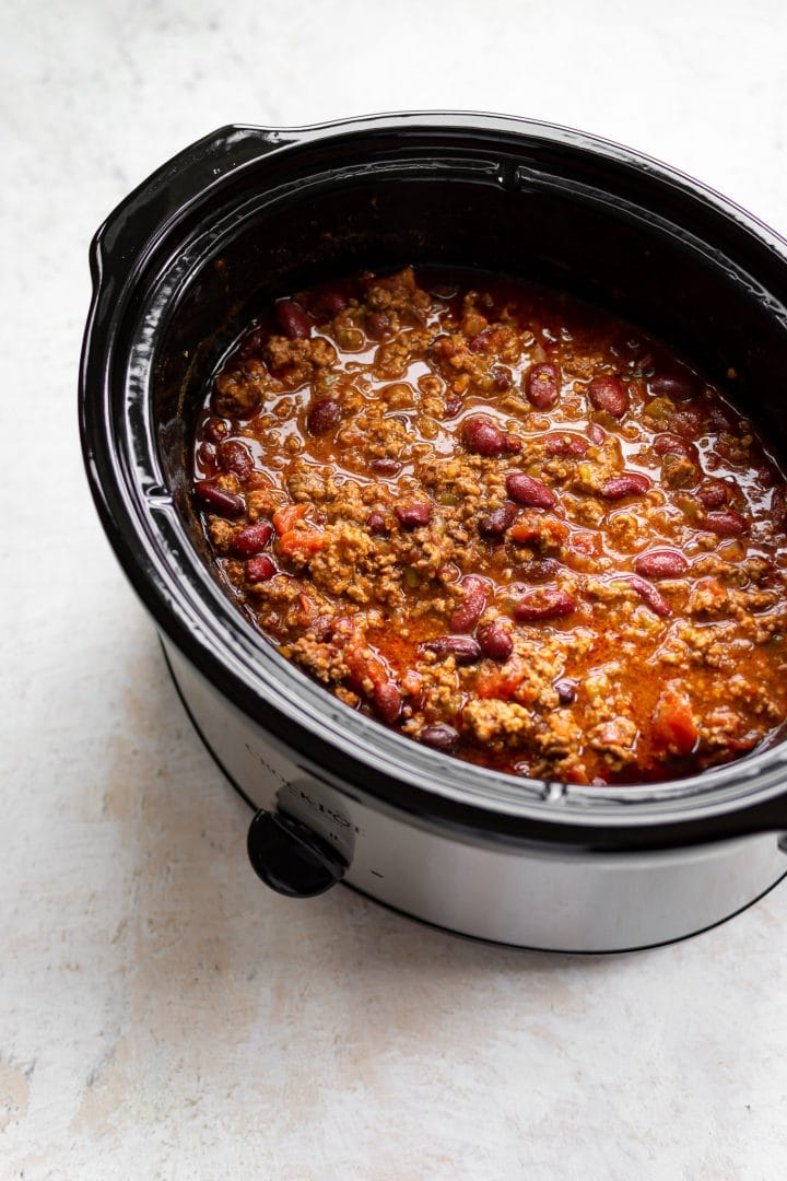 ground beef chili in a slow cooker