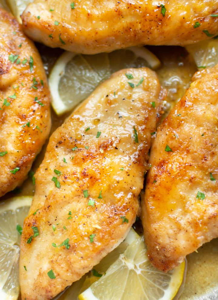close-up of glazed honey lemon chicken