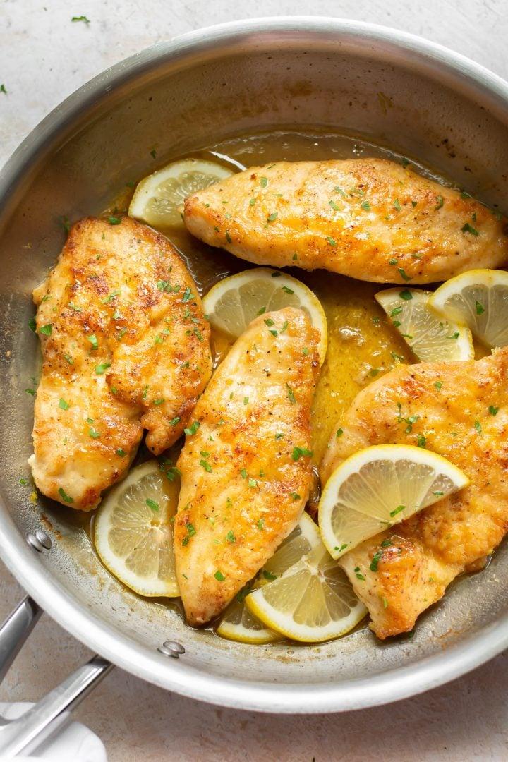 honey lemon chicken breasts in a skillet