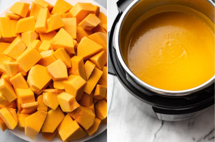 Instant Pot butternut squash soup collage (chopped raw butternut squash on a plate and the cooked soup in the Instant Pot)