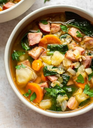 kielbasa potato soup close-up