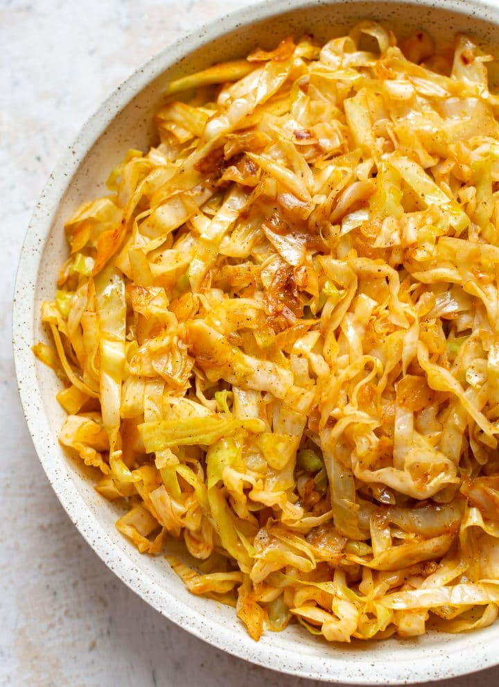 fried cabbage in a serving bowl