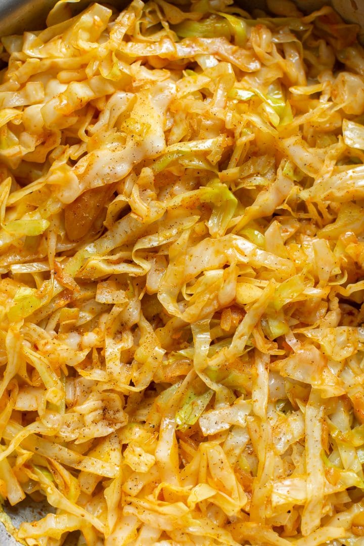 sautéed cabbage and onions close-up