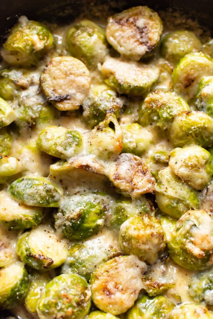 close-up of cheesy Brussels sprouts gratin