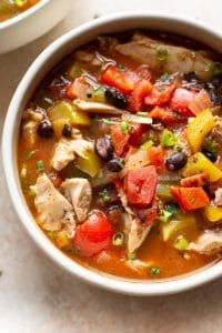 close-up of skinny chicken fajita soup
