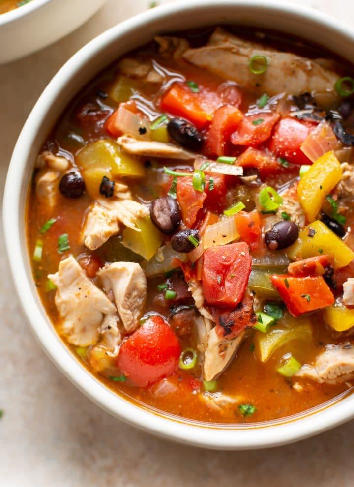 close-up of skinny chicken fajita soup