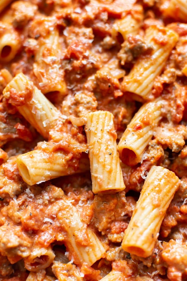 extreme close-up of spicy sausage rigatoni