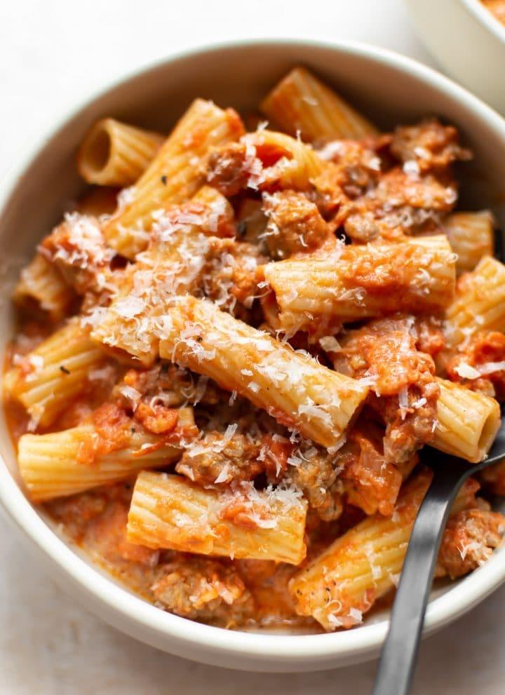 close-up of rigatoni and sausage pasta