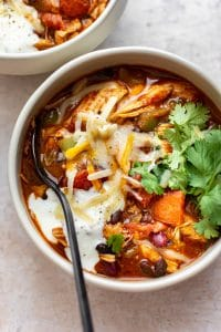 healthy leftover turkey chili in two bowls