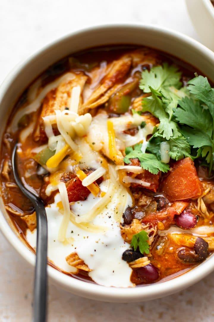 close-up of leftover turkey chili