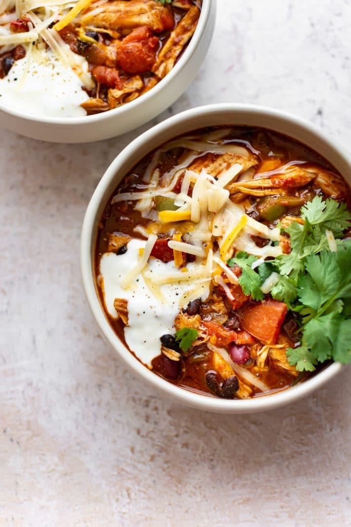turkey chili (leftover turkey) in two bowls