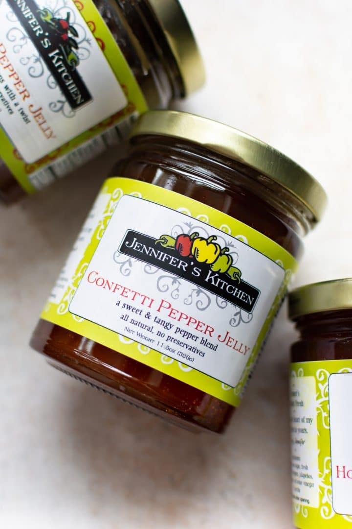 close-up of Jennifer's Kitchen Confetti Pepper Jelly in jars