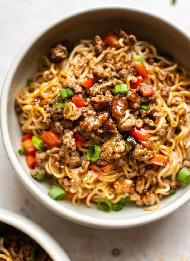 ground beef and ramen noodles in two bowls