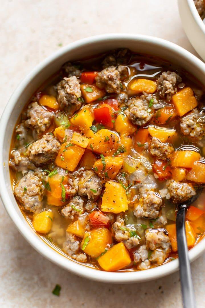 close-up of sweet potato sausage soup