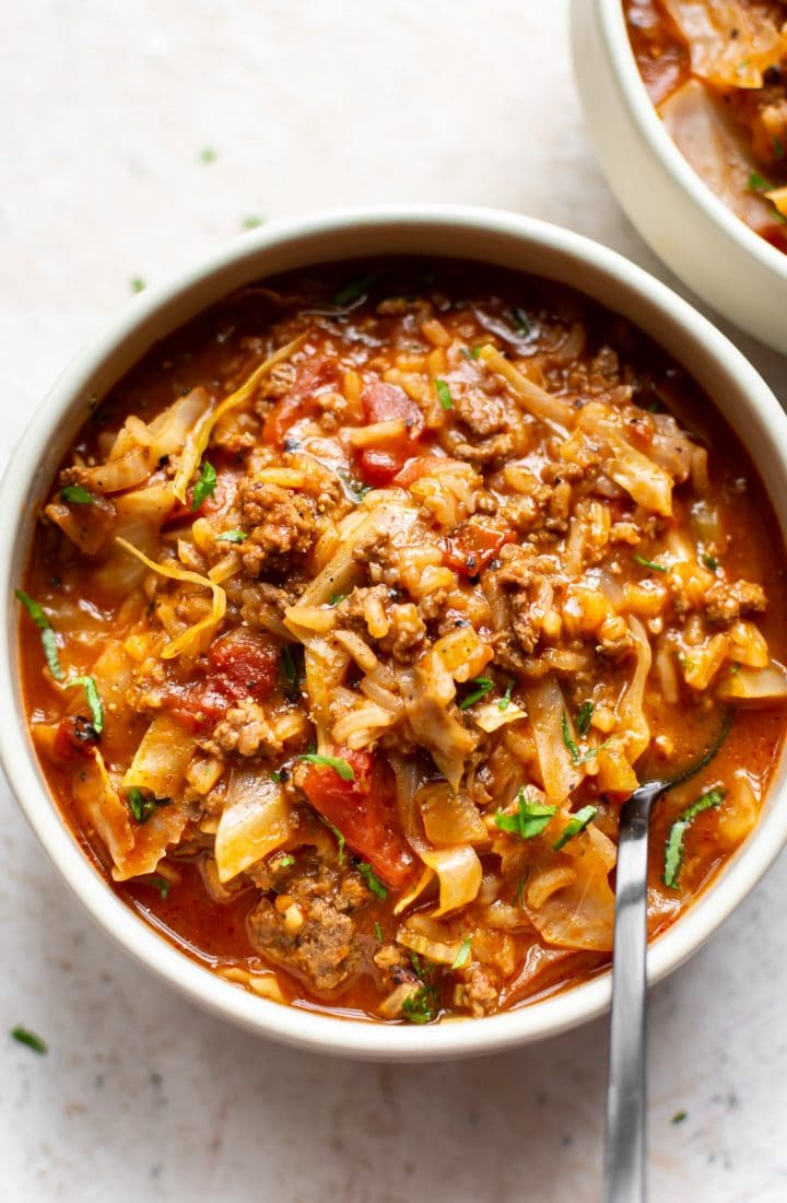 cabbage roll soup in two bowls