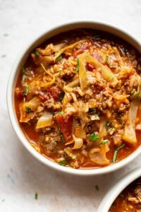 bowl of unstuffed cabbage soup